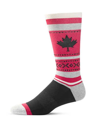 Mcgregor Mens Maple Leaf Hockey Socks-RED-7-12