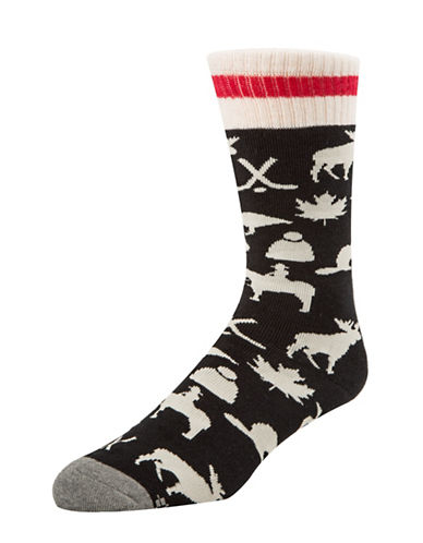 Mcgregor Mens Iconic Canadiana Socks-BLACK-7-12
