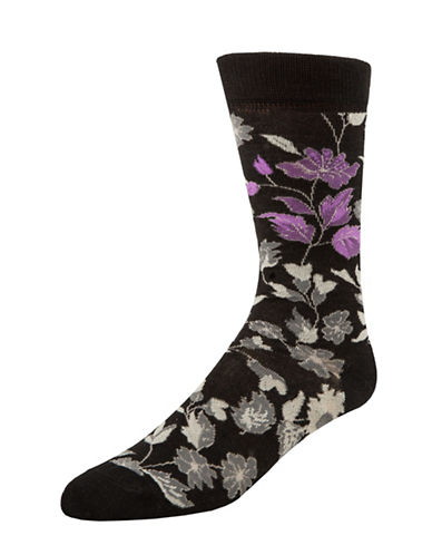 Mcgregor Floral Leaf Crew Socks-BLACK-7-12