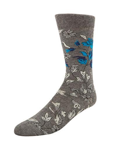 Mcgregor Floral Leaf Crew Socks-GREY-7-12