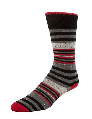 Mcgregor Dot and Stripe Crew Socks-RED-7-12