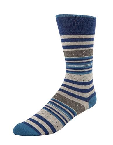 Mcgregor Dot and Stripe Crew Socks-BLUE-7-12