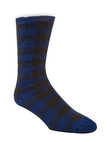 Mcgregor Buffalo Checked Thermal Crew Socks-BLUE-7-12