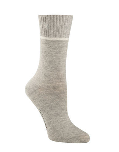 Calvin Klein Holiday Sparkle Rib Crew Socks-GREY-One Size