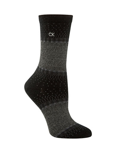 Calvin Klein Holiday Scattered Fairisle Crew Socks-BLACK-One Size