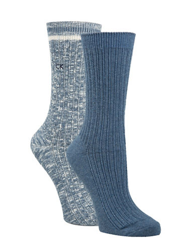 Calvin Klein Two-Pack Openwork Dual Stripe Crew Socks-BLUE-One Size
