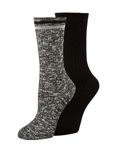 Calvin Klein Two-Pack Openwork Dual Stripe Crew Socks-BLACK-One Size