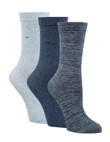 Calvin Klein Four-Pack Sparkle Gift Crew Socks-BLUE-One Size