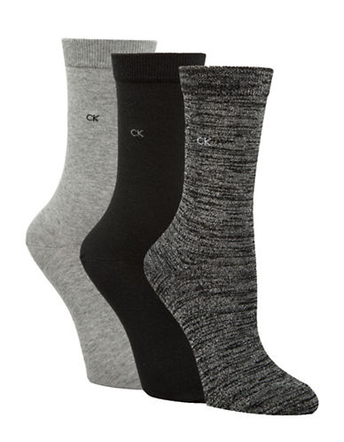 Calvin Klein Four-Pack Sparkle Gift Crew Socks-BLACK-One Size