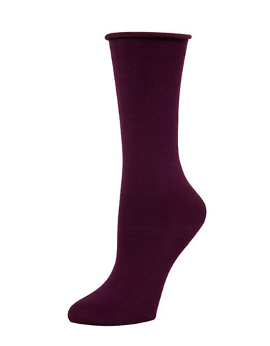 Mcgregor Bamboo Non-Elastic Roll Top Crew Socks-PURPLE-One Size