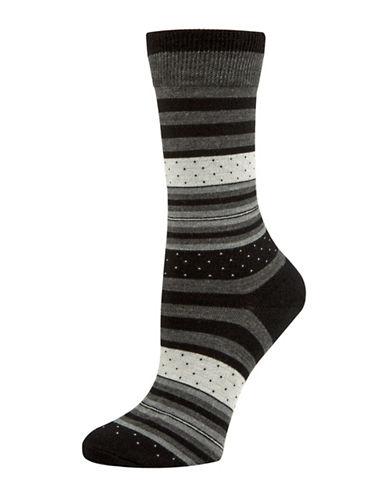 Mcgregor Striped Dotted Crew Socks-BLACK-One Size