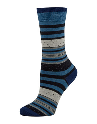 Mcgregor Striped Dotted Crew Socks-NAVY-One Size