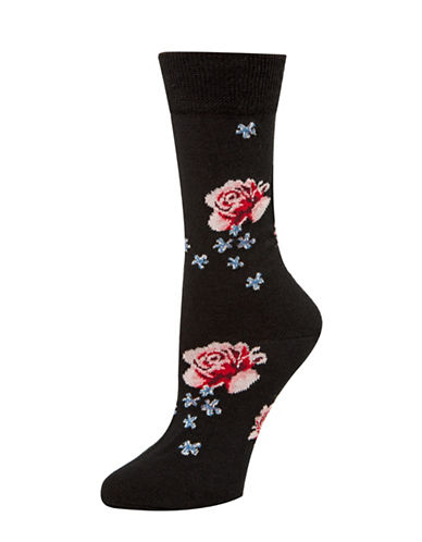 Mcgregor Wool Floral Crew Socks-BLACK-One Size