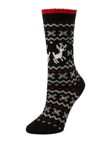Mcgregor Reindeer Fair Isle Crew Socks-BLACK-One Size