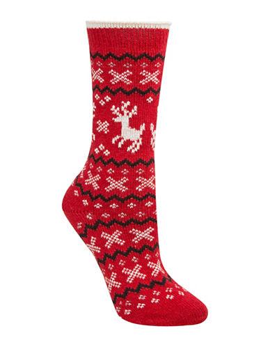 Mcgregor Reindeer Fair Isle Crew Socks-RED-One Size