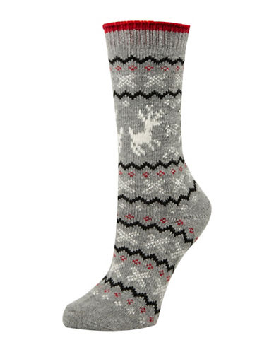 Mcgregor Reindeer Fair Isle Crew Socks-GREY-One Size