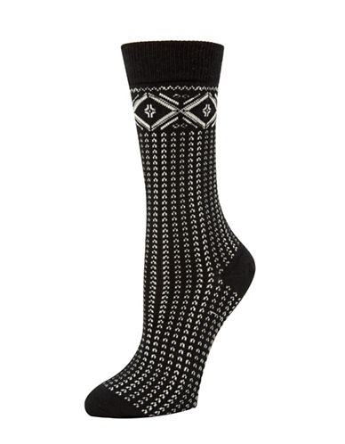 Mcgregor Fairisle Tube Socks-BLACK-One Size