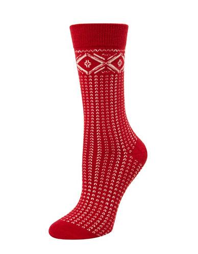 Mcgregor Fairisle Tube Socks-RED-One Size