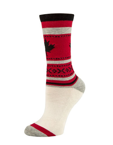 Mcgregor Maple Leaf Tube Socks-RED-One Size