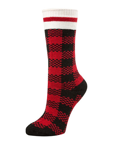 Mcgregor Thermal Buffalo Check Crew Socks-RED-One Size