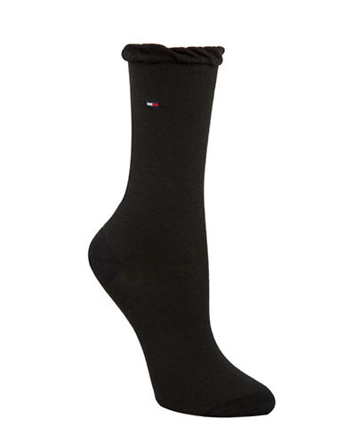 Tommy Hilfiger Two-Pack Mesh Crew Socks-BLACK-One Size