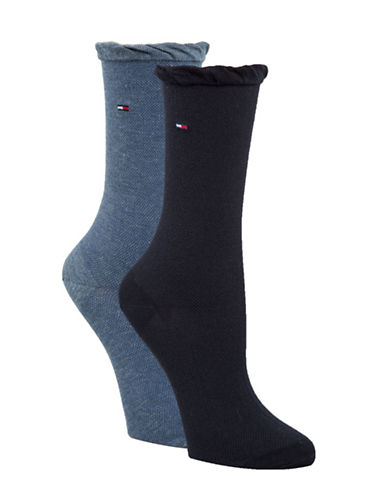 Tommy Hilfiger Two-Pack Mesh Crew Socks-BLUE-One Size
