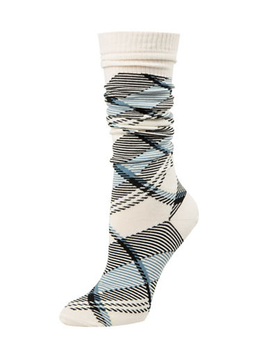 Tommy Hilfiger Tartan Plaid Socks-BEIGE-One Size