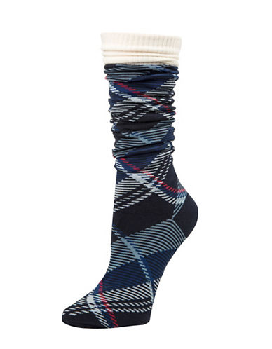 Tommy Hilfiger Tartan Plaid Socks-BLUE-One Size