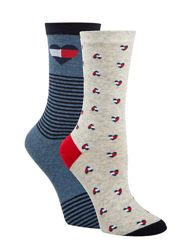 Tommy Hilfiger Two-Pair Logo Heart Crew Socks-GREY-One Size