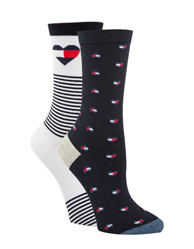 Tommy Hilfiger Two-Pair Logo Heart Crew Socks-BLUE-One Size