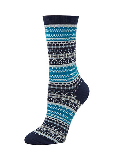 Tommy Hilfiger Two-Pack Fairisle Crew Socks-BLUE-One Size