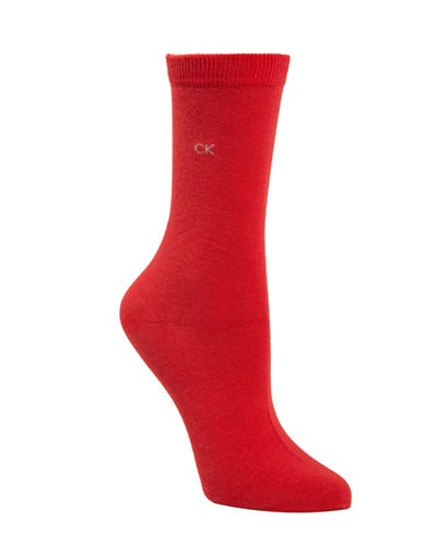 Calvin Klein Four-Pack Holiday Crew Socks-RED-One Size