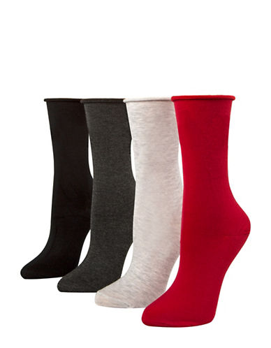 Mcgregor Four Pair Holiday Roll Top Crew Socks-ASSORTED-One Size