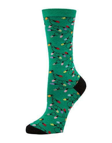 Mcgregor Christmas Lights Crew Socks-GREEN-One Size
