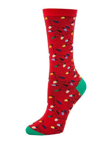 Mcgregor Christmas Lights Crew Socks-RED-One Size