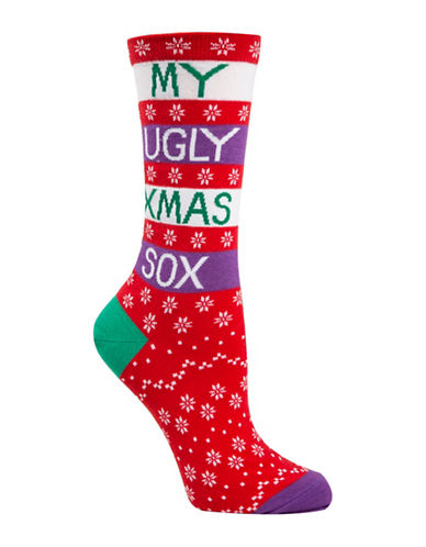 Mcgregor Ugly Sox Crew Socks-RED-One Size