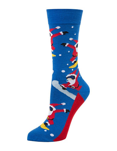 Mcgregor Snowboard Santa Crew Socks-BLUE-One Size