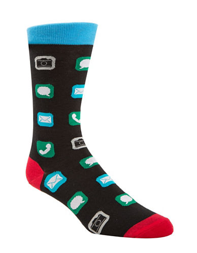 Mcgregor Mens Text Me Socks-BLACK-7-12