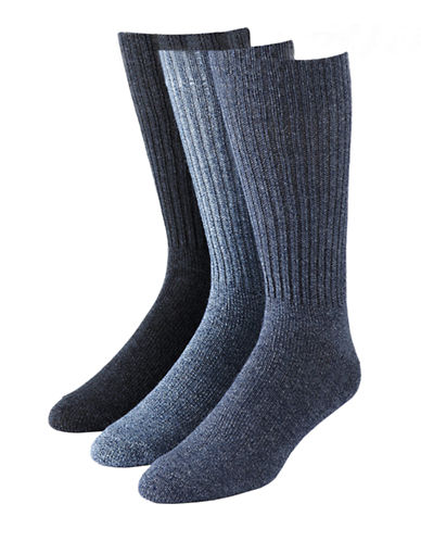 Calvin Klein Mens Three-Pack Ribbed Socks-MEDIUM BLUE-7-12