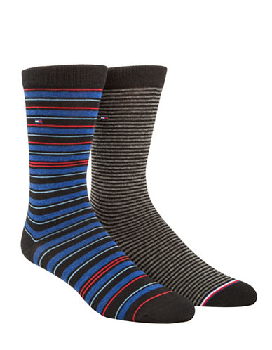 Tommy Hilfiger Two-Pack Multi Stripe Crew Socks Set-BLACK-7-12