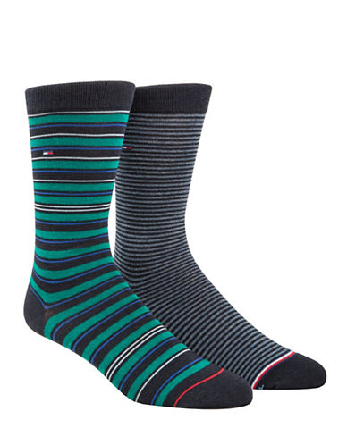 Tommy Hilfiger Two-Pack Multi Stripe Crew Socks Set-BLUE-7-12