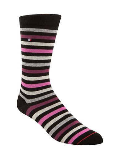 Tommy Hilfiger Two-Pack Primary Stripe Crew Socks-BLACK-7-12