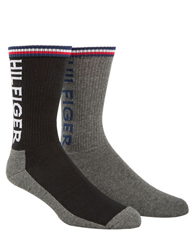 Tommy Hilfiger Two-Pack Sport Crew Socks-BLACK-7-12