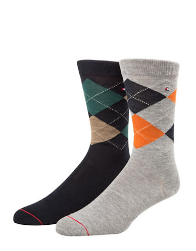 Tommy Hilfiger Mens Two-Pair Argyle Crew Socks-GREY-7-12