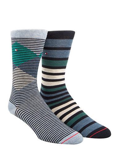 Tommy Hilfiger Two-Pack Diamond Striped Crew Socks-BLUE-7-12