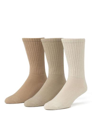 Mcgregor 3 Pack Athletic Crew Socks-STRING/ KHAKI/ BRITISH KHAKI-7-12