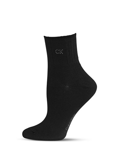 Calvin Klein Crystal Logo Soft Touch Socks-BLACK-One Size