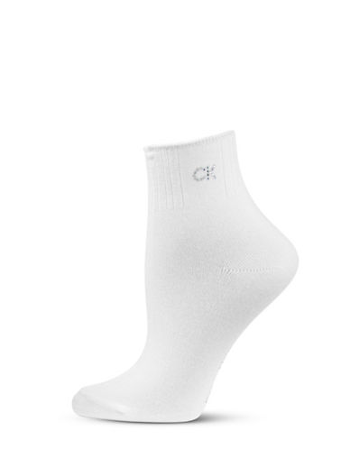 Calvin Klein Crystal Logo Soft Touch Socks-WHITE-One Size