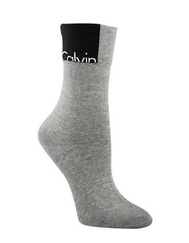 Calvin Klein Patch Logo Crew Socks-GREY-One Size