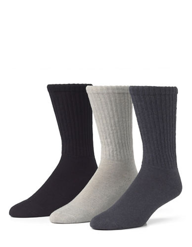 Mcgregor 3 Pack Athletic Crew Socks-DENIM HEATHER/ OXFORD HEATHER/ NAVY-7-12